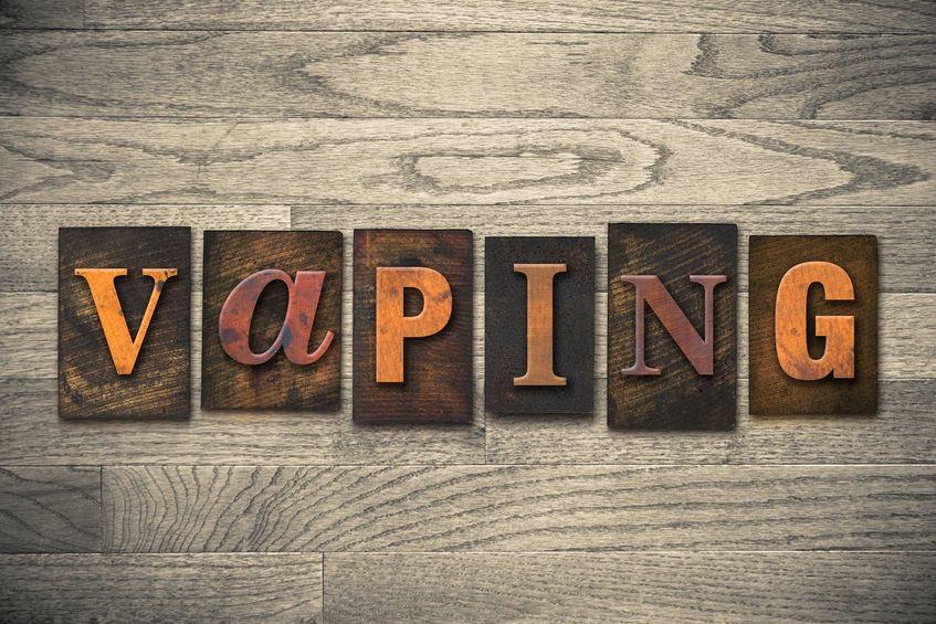 """The word """"VAPING"""" written in vintage wooden letterpress type. eZigarettenkoenig"""